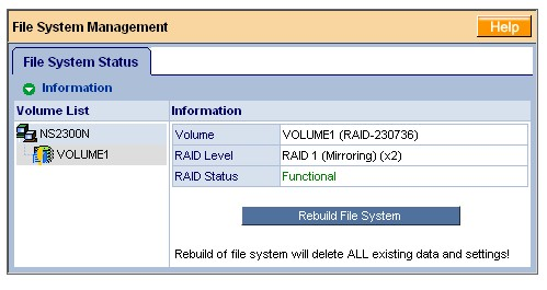 File System Management screen with reinserted drive