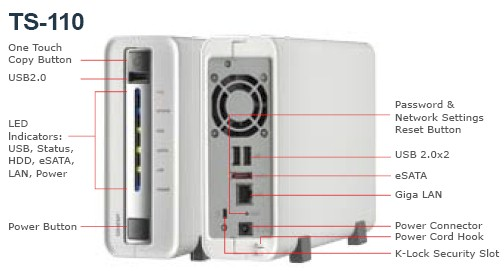 QNAP TS110 front and rear panels