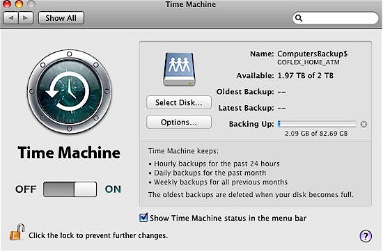 It took quite a while for the 82 GB initial Time Machine Backup