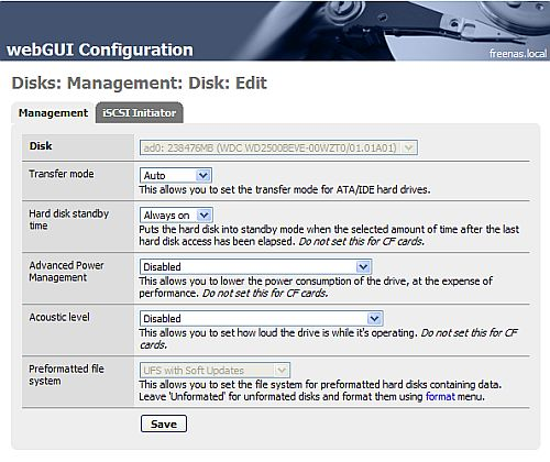 FreeNAS disk management process for adding the disk