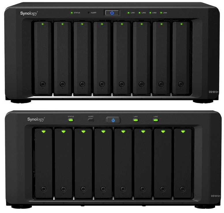 Synology DS1813+ and DS1812+ fronts compared