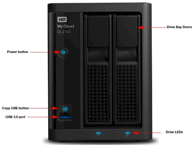 WD My Cloud DL2100 front panel callout
