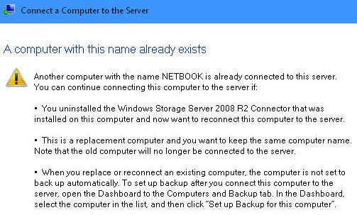 Warning that the computer name already exists