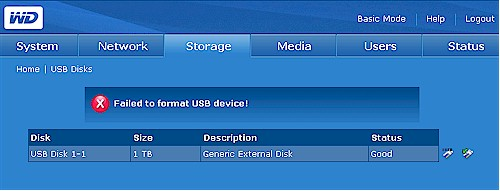 USB drive format failure