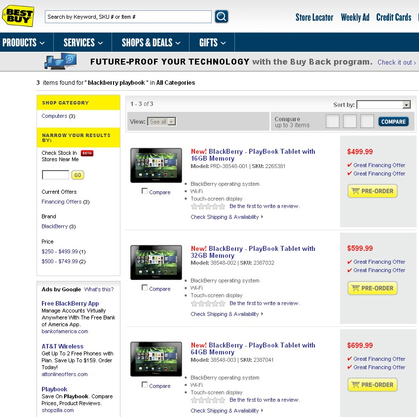 BestBuy PlayBook order page