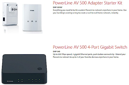 D-Link PowerLine AV products