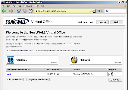 Virtual Office home page