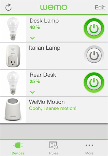 Belkin WeMo application landing page (Devices)