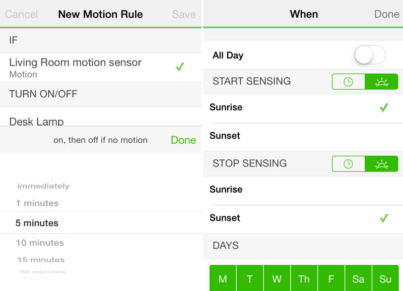 Belkin WeMo New Motion Rule and schedule