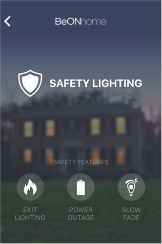 BeON Home Safety Lighting menu
