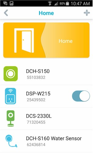 D-Link DCH-S160 Home Page (Android)
