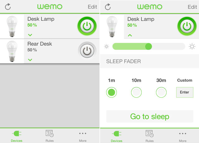 Belkin WeMo Landing page (l) and brightness page (r)