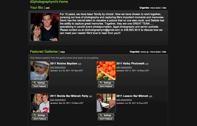 Customized Smugmug personal website