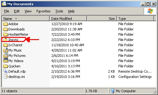 Insync folder in Windows XP