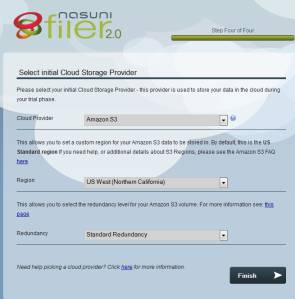 Nasuni storage provider selection