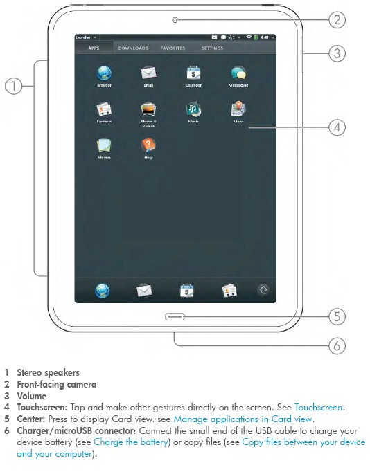 HP Touchpad controls