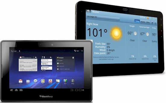 BlackBerry Playbook and Viewsonic GTablet
