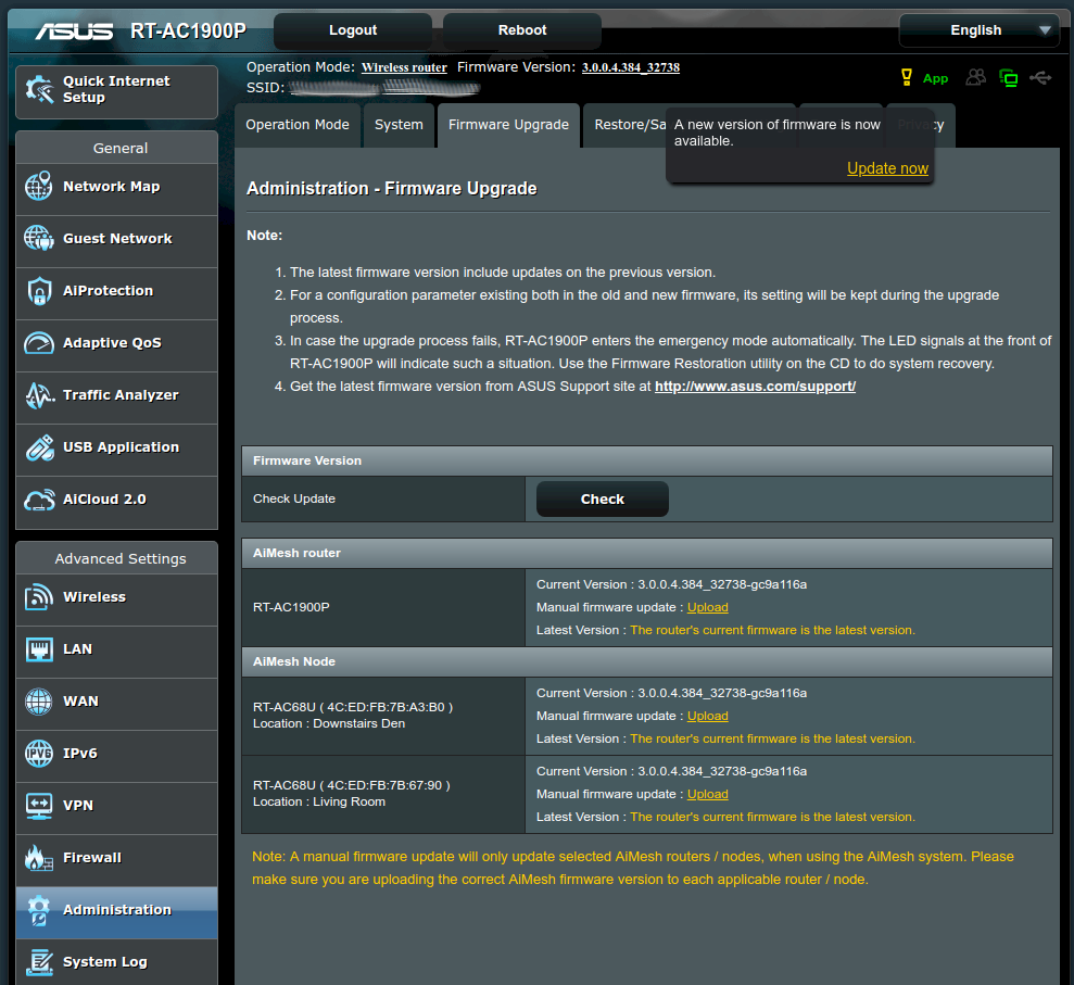 Firmware upgrades are done from the AiMesh Router's own firmware upgrade dialog