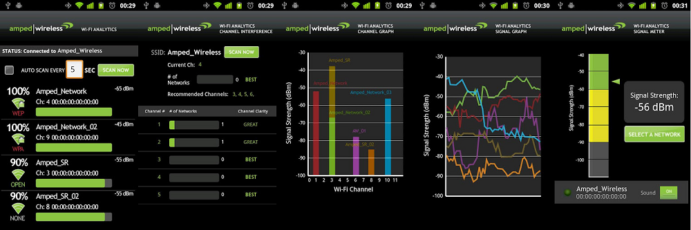 Combined screens of the Wi-Fi Analytics Tool Android app