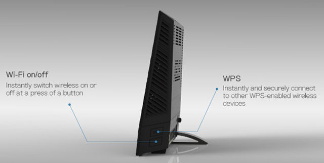 ASUS RT-AC56U profile showing Wi-Fi on/off and WPS buttons