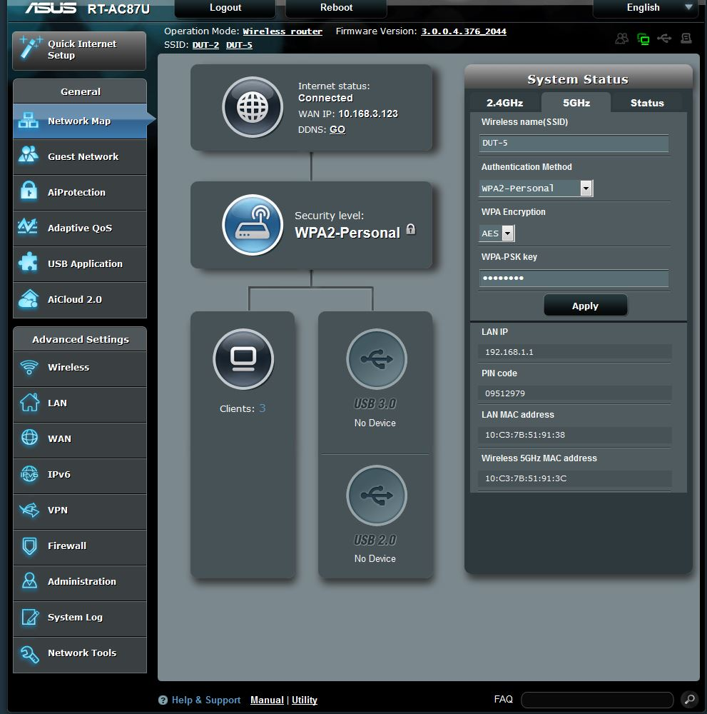 ASUS RT-AC87U Dual-band Wireless-AC2400 Gigabit Router First