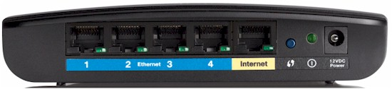 Linksys E1200 rear panel