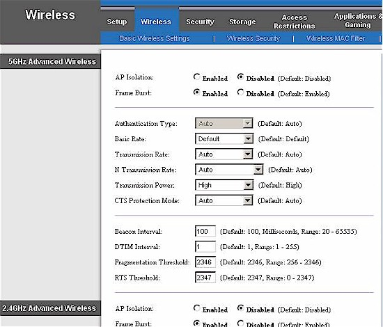 E3000 Advanced Wireless settings