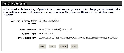 Wireless Network Setup Wizard result