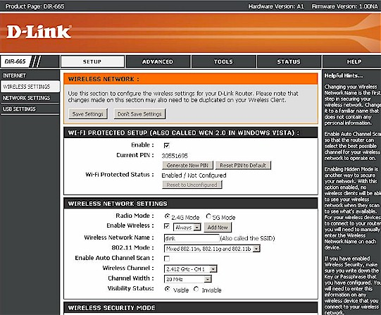 D-Link DIR-665 Basic Wireless controls