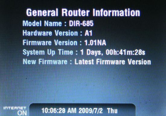 DIR-685 General Router Information