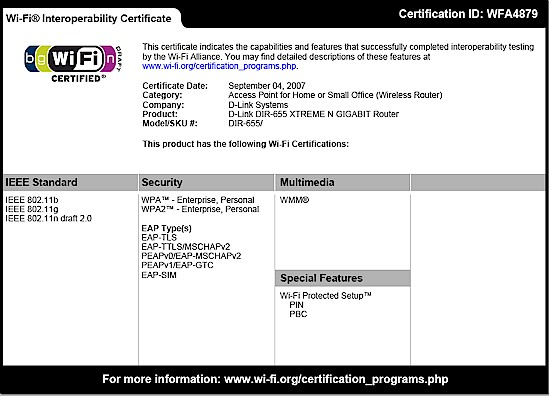 DIR-655 Wi-Fi Certification