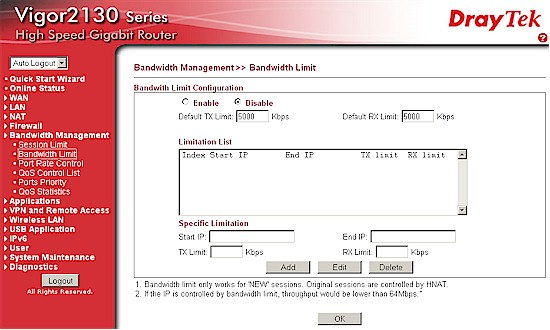 Bandwidth limit controls