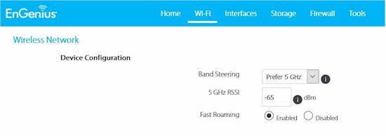 Settings for Wi-Fi test