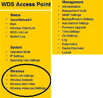 ENS200 WDS Access Point mode menu
