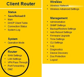 ENS200 Client Router settings