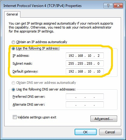 Entering the WAN-side computer IP address