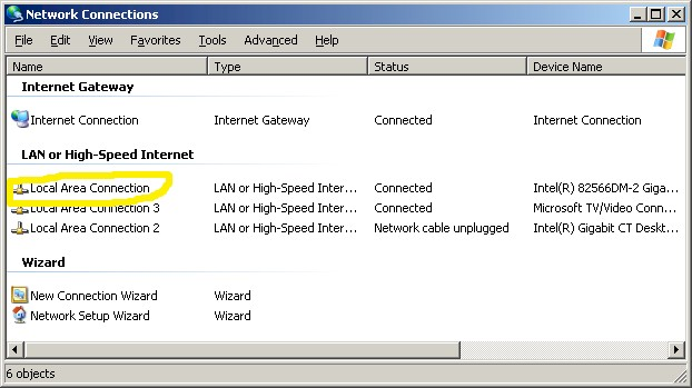 Network Connections window (Win XP)