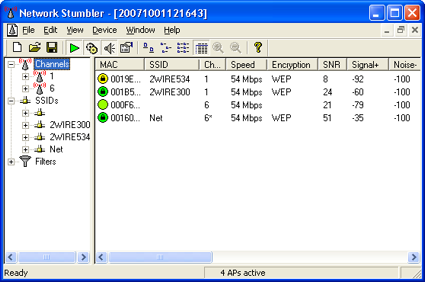 Example of NetStumbler displaying info on nearby wireless networks.