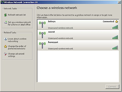 Windows XP Wireless Network Scan