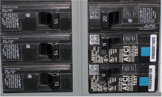 Regular and AFCI circuit breakers