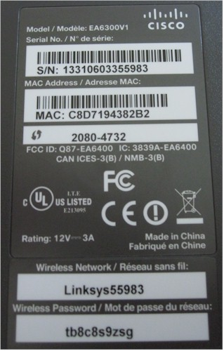 Linksys EA6300 product label