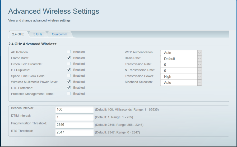 Linksys Velop hidden Advanced wireless settings