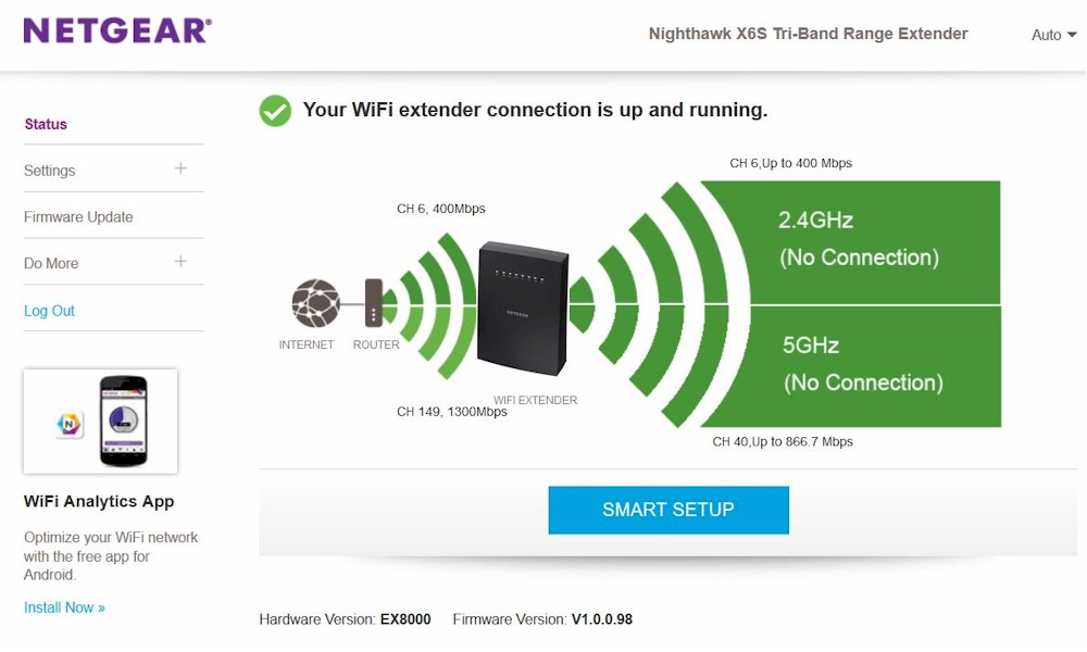 NETGEAR EX8000 Nighthawk X6S Tri-Band WiFi Range Extender