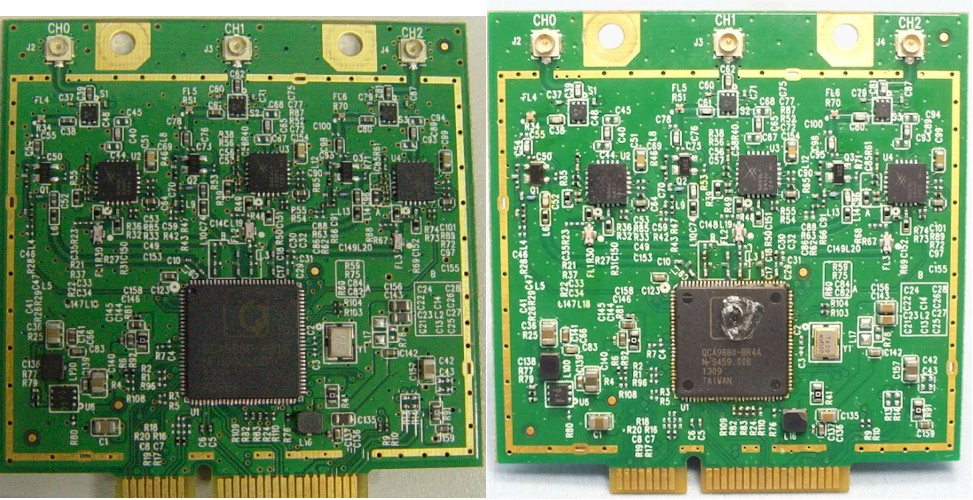 TP-LINK Archer C7 (left) and C7 V2 5 GH radio boards