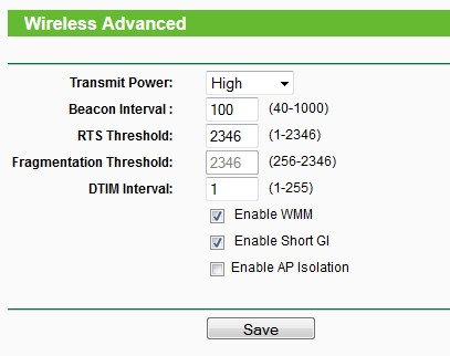TP-LINK Archer C7 V2 advanced wireless settings