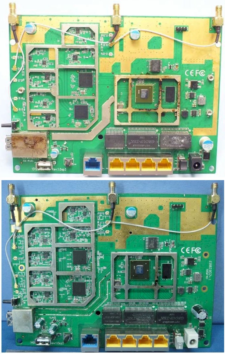 TP-LINK Archer C8 (top), Archer C9 (bottom) boards