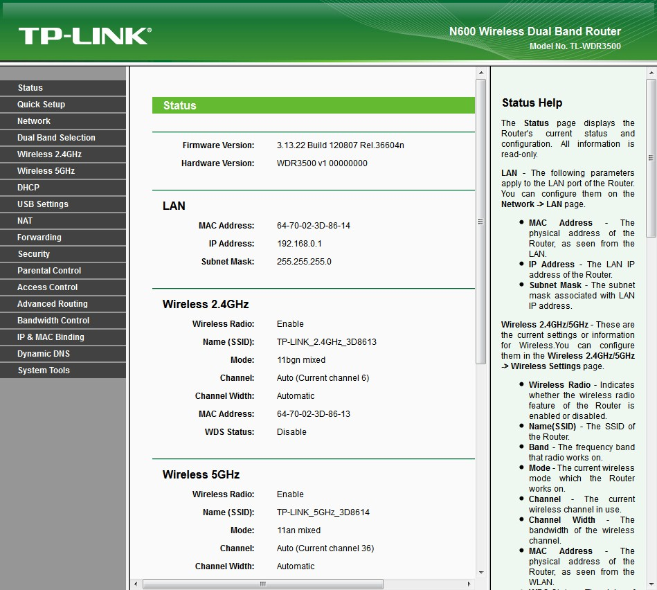 TP-LINK TL-WDR3500 Status page