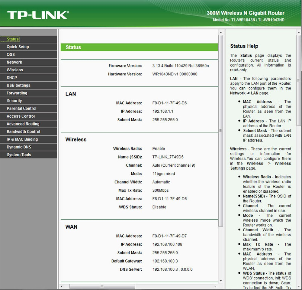 TP-Link WR1043ND landing (status) page