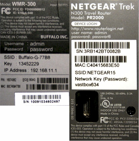 Labels for the WMR-300 (left) and the NETGEAR PR2000 (right)