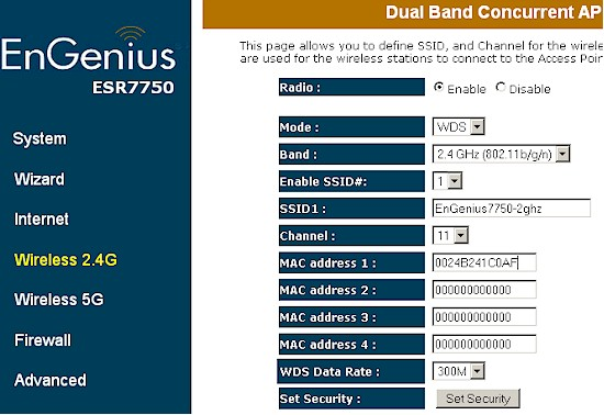 ESR7750 wireless settings for WDS link to WNDR3700 2.4 GHz radio